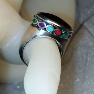 Raised Onyx and Multistone Sterling Silver Ring 6